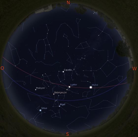 Sternenhimmel im Februar (gültig am 1. um 20 Uhr, am 15. um 19 Uhr und am 28. kurz nach 18 Uhr)