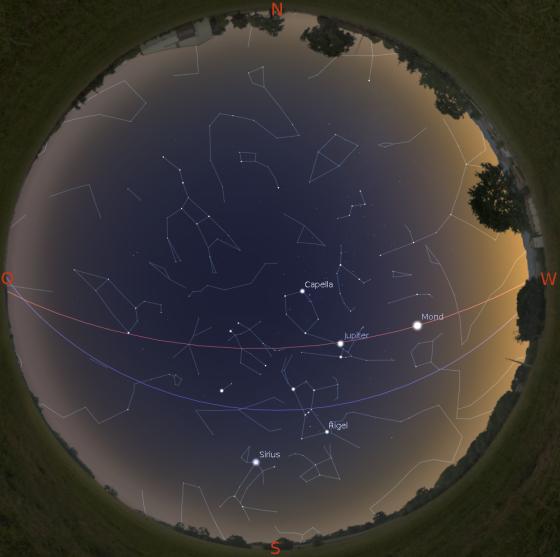 Sternenhimmel im März (gültig am 1. um 20 Uhr, am 15. um 19 Uhr und am 30. um 18 Uhr)