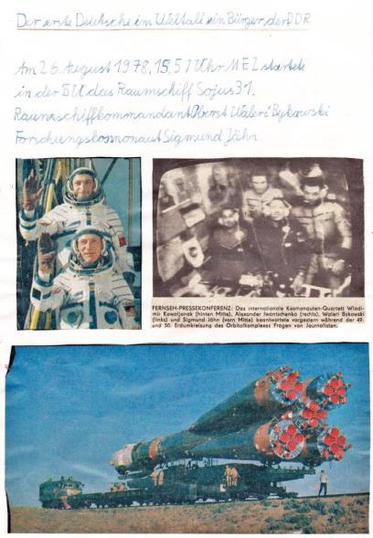 #ZeitZeugnis: Blatt aus dem Heimatkundehefter zum Start von Sigmund Jähn 1978