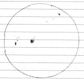 Zeichnung der Sonne mit Sonnenflecken