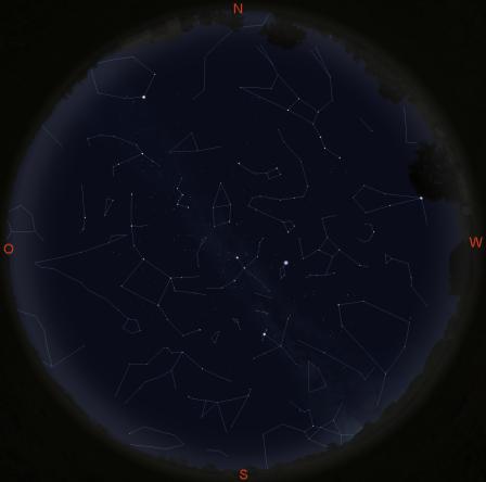 Sternbilder am Nachthimmel (gültig am 1. um 21 Uhr, am 15. um 20 Uhr und am 30. um 18 Uhr)