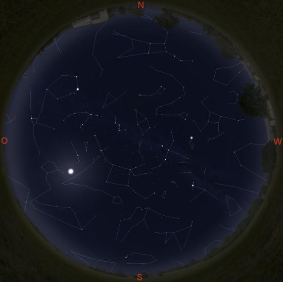Sternbilder am Nachthimmel (gültig am 1. um 20 Uhr, am 15. um 19 Uhr und am 30. um 18 Uhr)