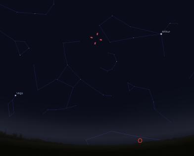Position des Kometen Lovejoy am 4.12. gegen 5 Uhr