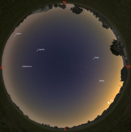 Blick an den Sternenhimmel am 1.1. gegen 17 Uhr