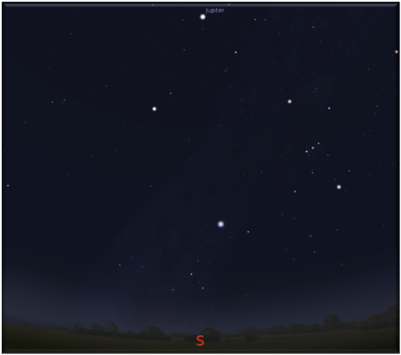 Jupiter am südlichen Nachthimmel