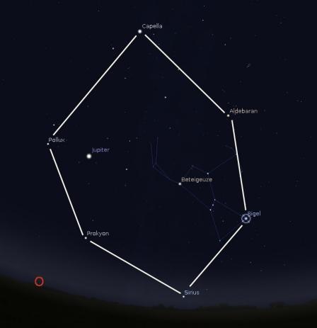Das Wintersechseck mit Aldebaran, Capella, Pollux, Prokyon, Sirius und Rigel