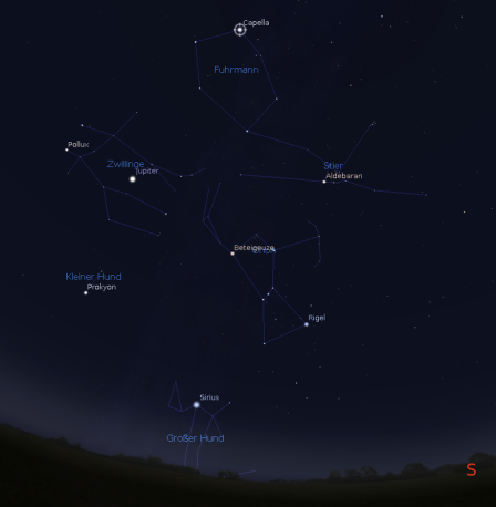 Sternbilder des Wintersechsecks: Orion, Stier, Fuhrmann, Zwillinge, Kleiner Hund, Großer Hund