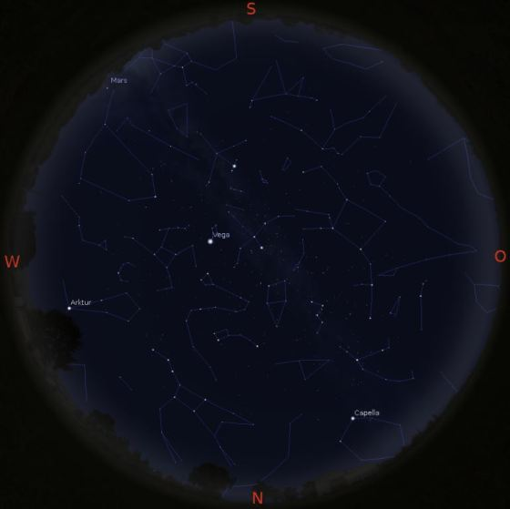 Sternbilder am 15.10. gegen 20 Uhr