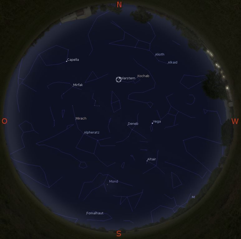 Sternenhimmel am 1.11. gegen 19 Uhr