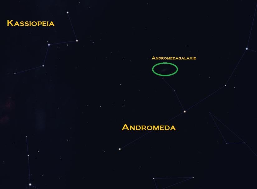 Andromedagalaxie zwischen Kassiopeia und Andromeda