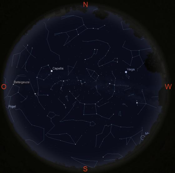 Sternhimmel in Jena am 10.12. gegen 19 Uhr
