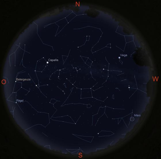 Sternhimmel in New York am 10.12. gegen 19 Uhr
