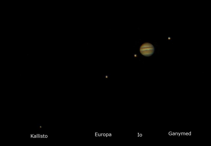 Jupiter mit seinen 4 Monden (aufgenommen von Michael [http://trashholeobservatory.wordpress.com/])