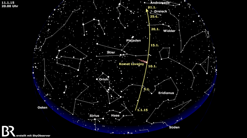 Kometenposition im Januar (Grafik von BR)