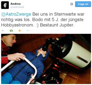 @AstroZwerge Bei uns in Sternwarte war richtig was los. Bodo mit 5 J. der jüngste Hobbyastronom. :) Bestaunt Jupiter.
