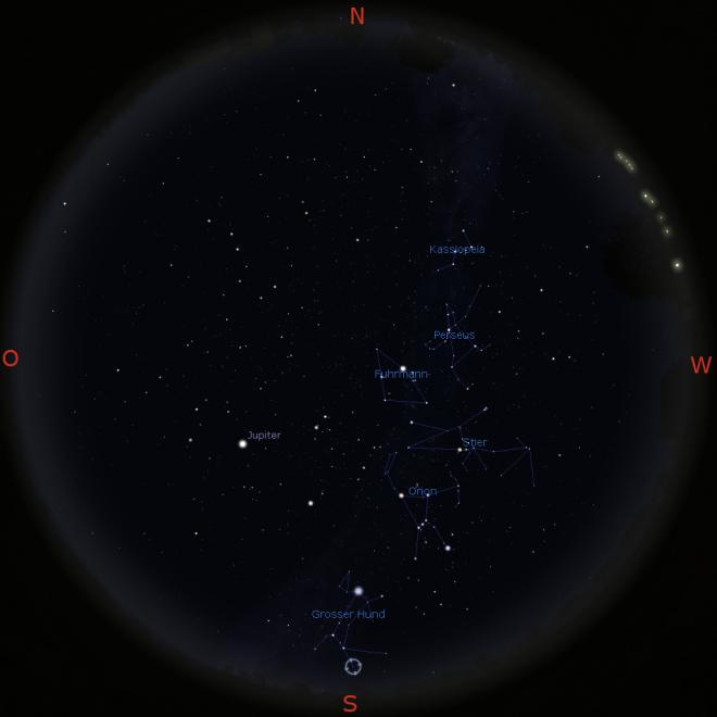 Nachthimmel mit Milchstraße am 21.2. gegen 20 Uhr