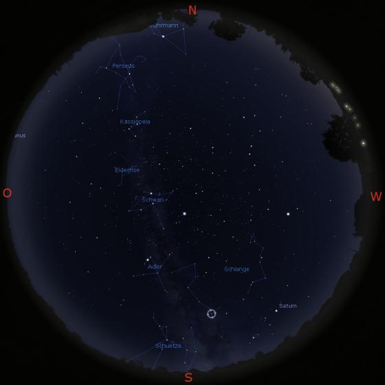 Nachthimmel mit Milchstraße am 14.8. gegen 20 Uhr