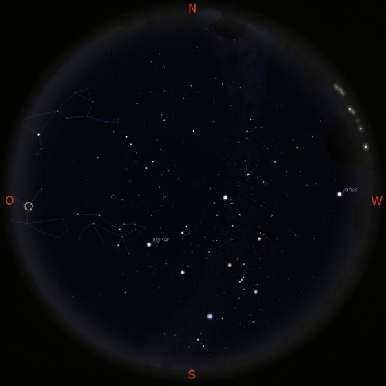Sternenhimmel am 15.3. gegen 19 Uhr