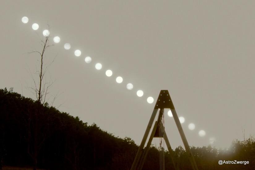 Sonnenuntergangsreihe Canon 600D, 55mm, alle 4 min 1 Bild mit Schutzfolie, anschließend eins ohne, alle Bilder überlagert