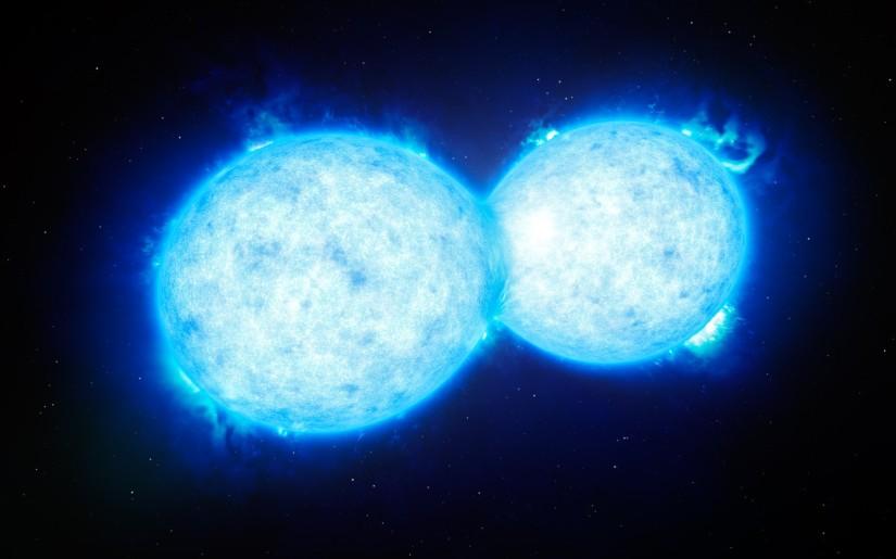 Künstlerische Darstellung des heißesten und massereichsten sich berührenden Doppelsterns