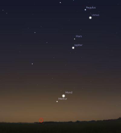 Planetenreigen am 11.10. gegen 6:30 Uhr
