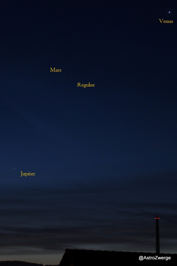 Venus-Regulus-Mars-Jupiter am 25.9.2015
