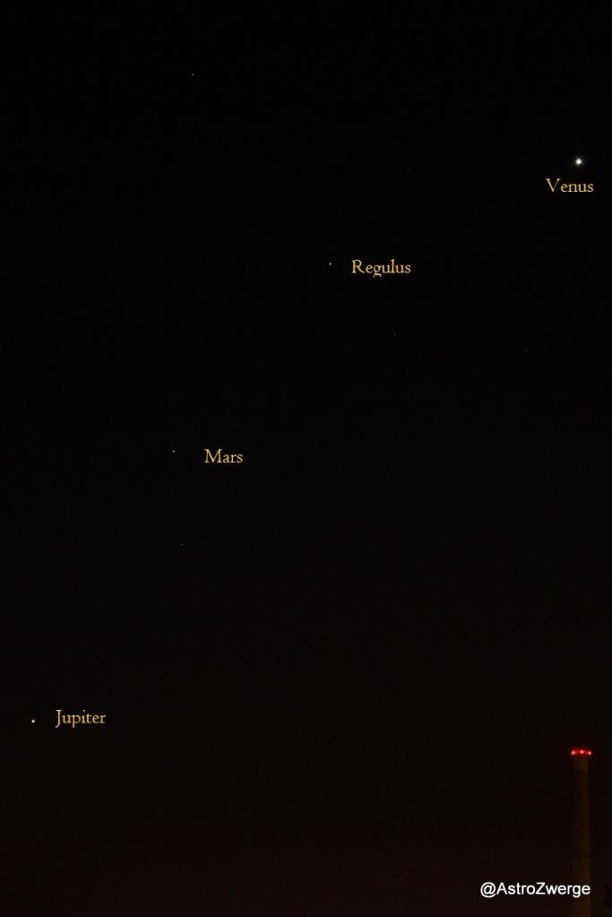 Venus-Regulus-Mars-Jupiter am 3.10.2015