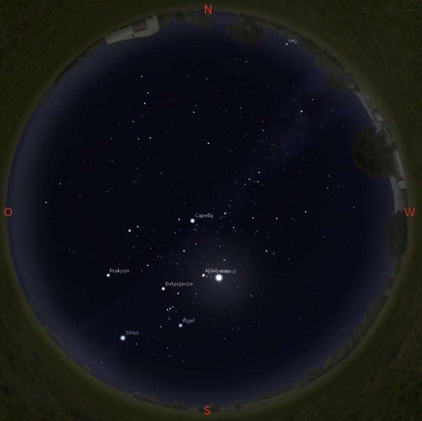 Sternenhimmel am 15.2. gegen 19 Uhr