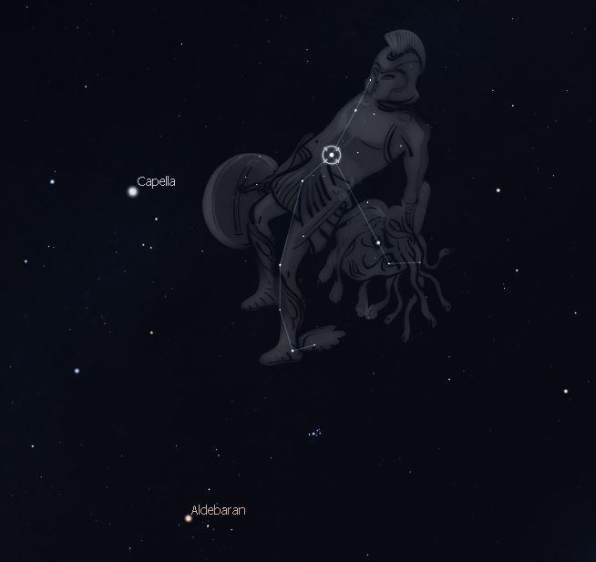 Sternbild Perseus Mitte Februar (Abb. Stellarium)