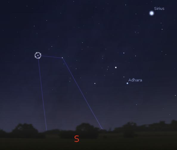 """Sternbild """"Achterdeck"""" (Abb. Stellarium)"""