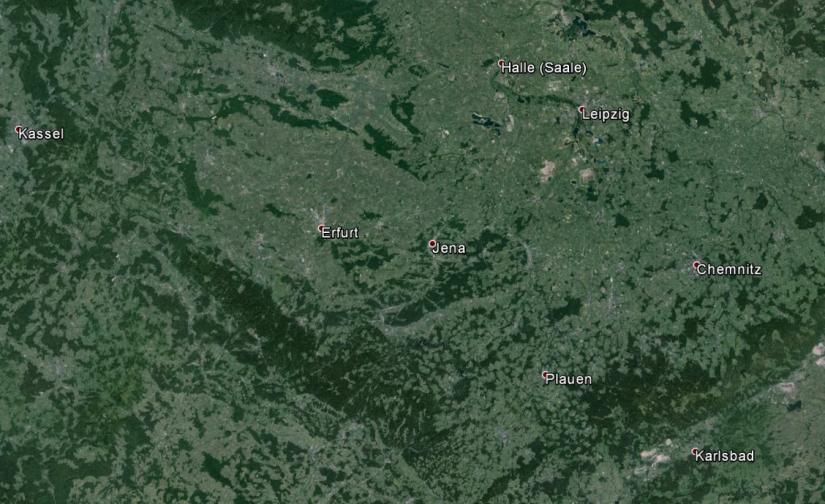 Thüringen aus 290 km Höhe betrachtet