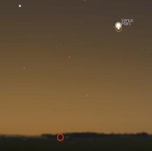 Venus und Mars dicht beieinander am 5.10. gegen 6:30 Uhr