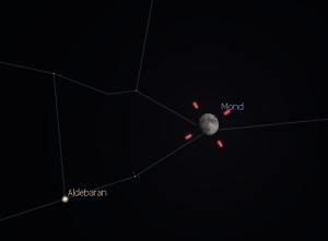 Mond bei Aldebaran am 30.12. gegen 18:30 Uhr