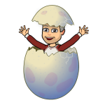 """ich """"schlüpfe"""" aus dem Ei"""