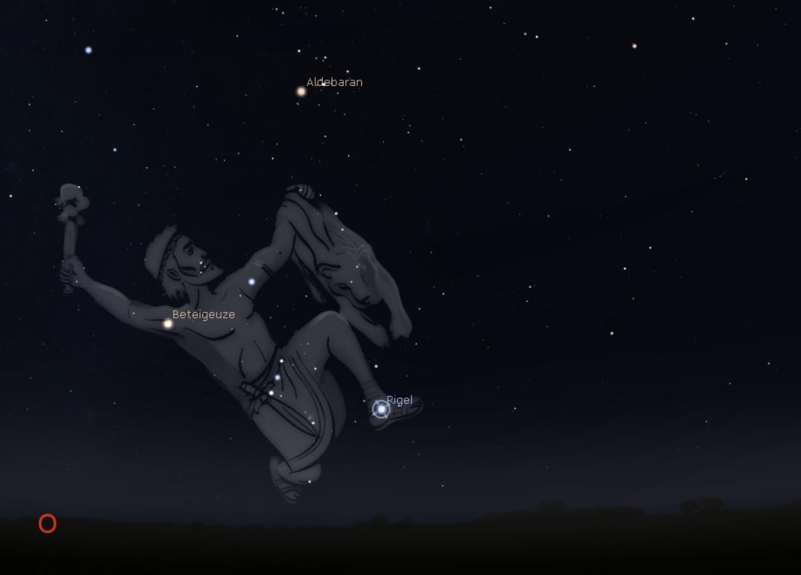 Stellarium Abbildung vom Sternbild Orion mit Rigel und Beteigeuze