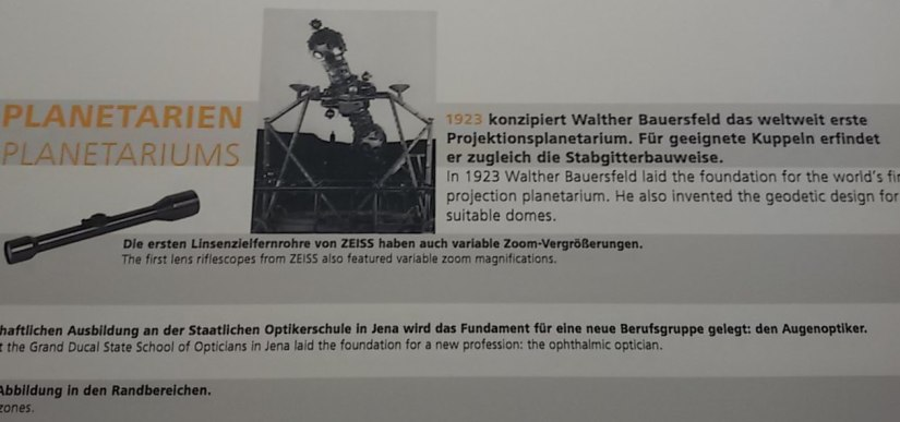 Abschnitt Planetarium im Zeitstrahl der ZEISS Entwicklung