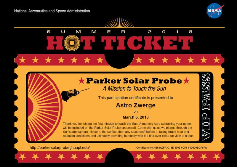 Parker Solar Probe Ticket
