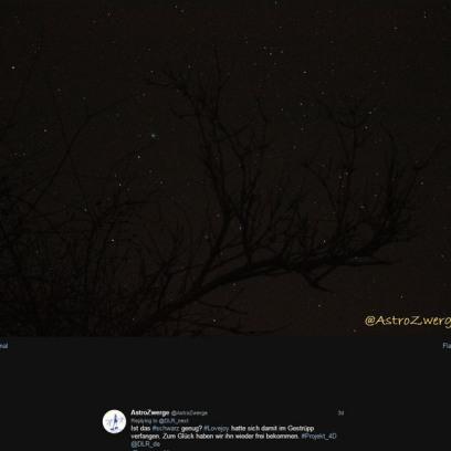 DLR_next #Projekt_4D zum Thema schwarz: Foto von Kometen Lovejoy am Nachthimmel