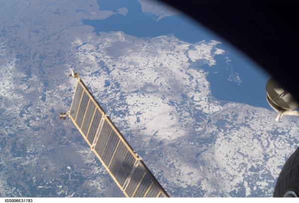 Aufnahme der ISS über Deutschland