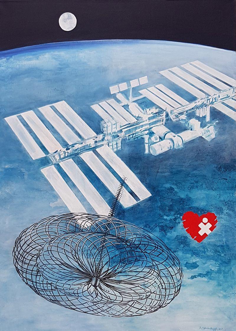 gemaltes Bild: ISS über der Erde, im Hintergrund der Mond. Davor in Groß das Schirmchen