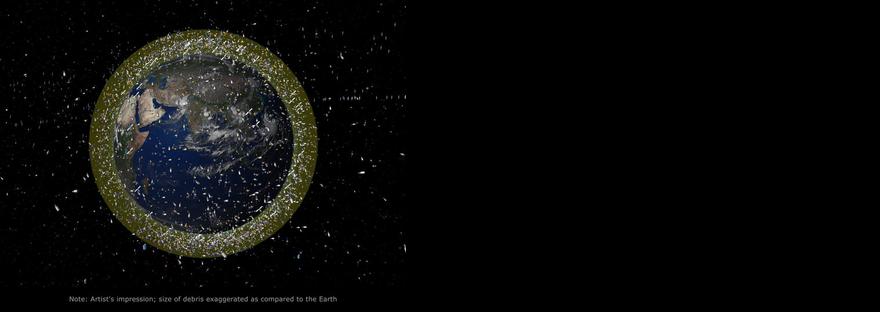 Darstellung von Weltraumschrott im niedrigen Erdorbit