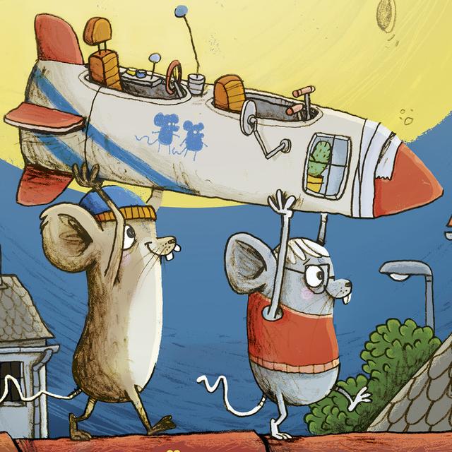 Zeichnung, auf der die Mäuse gemeinsam die gebaute Rakete aus einer Toilettenpapierrolle tragen