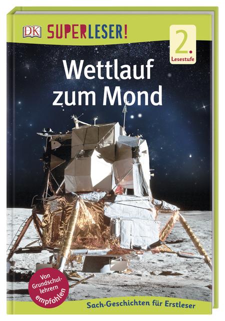 Buchcover mit Mondlandefähre auf dem Mond