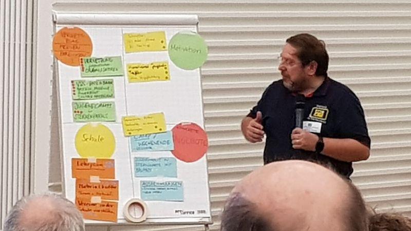 Rolando Doelling mit dem Whiteboard der Punkte der verschiedenen Gruppen