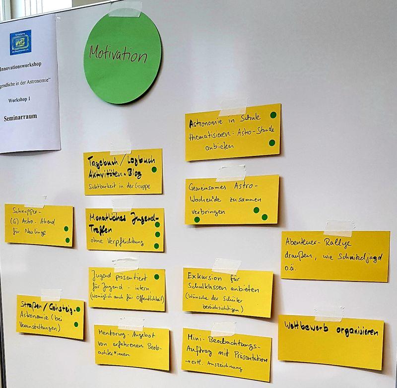 """Whiteboard mit den gesammelten Stichpunkten der Gruppe """"Motivation"""""""