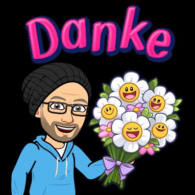 """Zeichnung: ich mit Blumenstrauß und Schriftzug """"Danke!"""""""