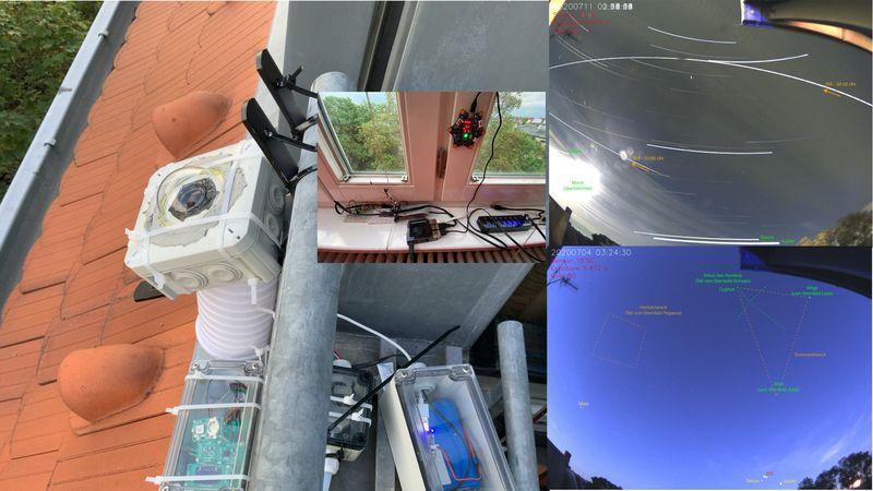 Fotokomposition aus Terrassenbrüstung mit Kamera, Fensterbrett mit Rasperry & calliope und AllSkyfotoaufnahmen