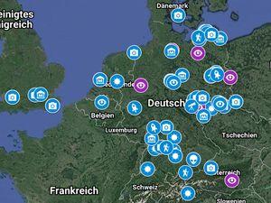 GoogleMaps Screenshot des Bereiches Frankreich und Deutschland mit Markierungspunkten als Symbolbild