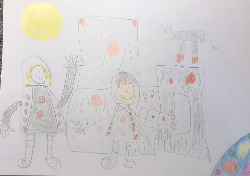 Kinderzeichnung: Der kleine Major Tom, Stella, Plutinchen mit Raumstation, Sonne und Erde